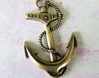 NEW Large BRASS Anchor Charm 2911B