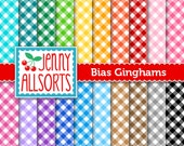 Bias Gingham Digital Paper in bright colors, 20 sheets, instant download