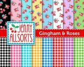 Gingham and Roses Digital Paper - Scrapbook Paper in Bright Pastels - for invites, card making, digital scrapbooking