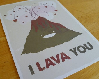 I Lava You, Volcano Valentine - Unframed 5x7 Archival Digital Print