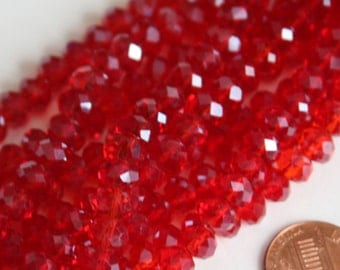 15 inch Strand of Clear Red glass faceted rondelle beads 5X8mm