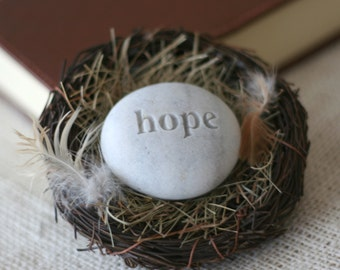 Hope stone in nest -  ready to ship gift by sjEngraving