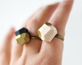 pale pink OR black gold dipped geo ring