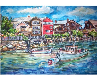WATERFRONT SCENE -11x15 original painting seascape watercolor OOAK, Seascape, Harbor, Fishing Boat, Boat, Waterfront, Town, House, Blue