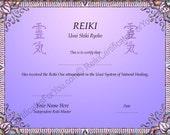 Reiki Certificate Template -  Dapple Design - Landscape Oriented
