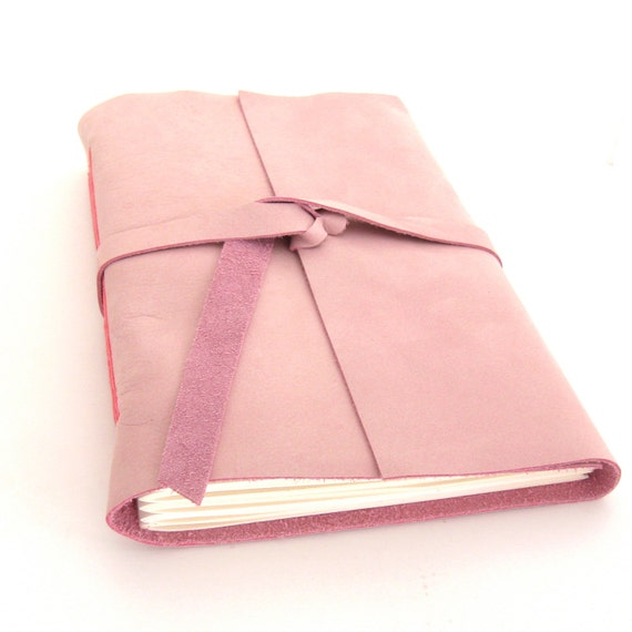 Large Pink Leather Valentine Journal, A Handmade Leather Journal and Sketchbook