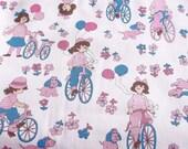 "Vintage 80s 1 yd 15"" x 45 Retro Broadcloth Novelty Girls Dogs Bikes Flowers Pink Blue Dress Jacket Pants Blend Fabric"