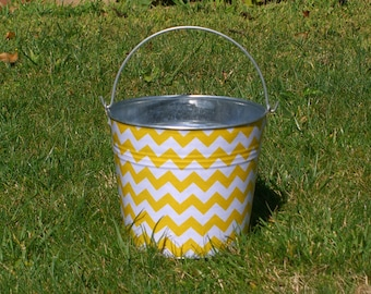 Lemon Yellow and White Chevron Fabric Covered Galvanized Pail Childrens Easter Egg Hunt Basket