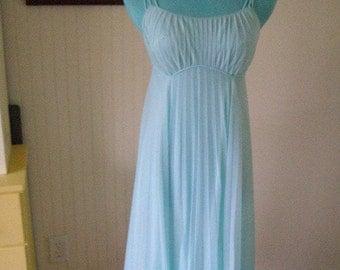 SALE-SALE Vintage Vanity Fair Teal-Blue Pleated Nightgown--NEW-Never Worn