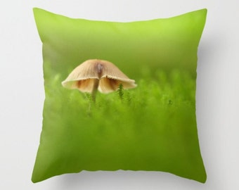 Mushroom Pillow Cover  Fungi In The Moss Woodland Light Forest Scene Tiny Mushroom Pillow Cover Fungi Mycology Woodland Scene Forest