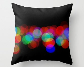Night Lights Pillow Cover Lights At Night Street Photography Bokeh Lights Colored Lights Dots Abstract Phography