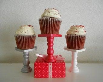 Valentine Heart mini wood cupcake stands set 3 you choose colors