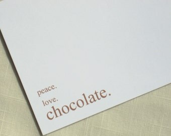 Chocolate Lovers Note Cards - Peace Love Chocolate - Set of 8