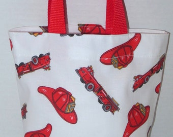 Fire Trucks and Fire Chief Hats Purse/Gift Bag/Tote