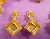 12 Brass Double Prong Setting 8mm Square 20SS Round 1 Ring Closed Backs