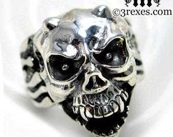 Silver Skull Ring Mens Ring Devil Gargoyle Biker Band Size 10