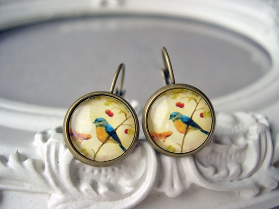 Pretty bird  earrings sweet lolita feminine leverback