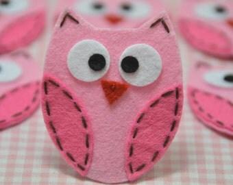 Set of 6pcs handmade felt owl--baby pink/dark carnation (FT722)