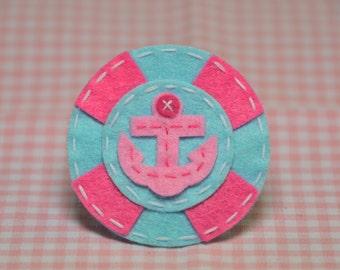 Set of 6pcs handmade felt Anchor with Life Preserver-baby pink/blue (FT992)