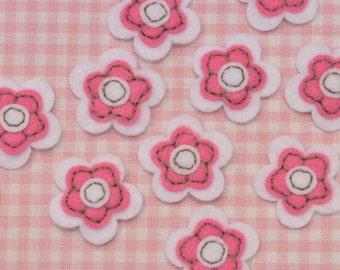Set of 12pcs felt flower--white/dark carnation (FT406)