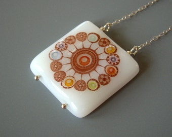 Festive Burst Fused Glass Necklace Sterling Silver Multicolor Colorful