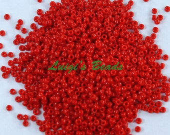 15/0 Round TOHO Japanese Glass Seed Beads #45A-Opaque Cherry 10g