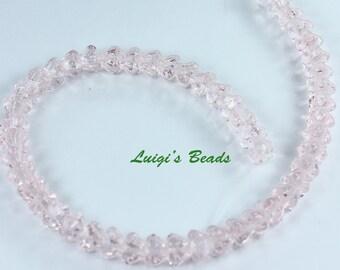 50 Light Rosaline Czech Glass Beads Baby Bell Flower 4/6mm