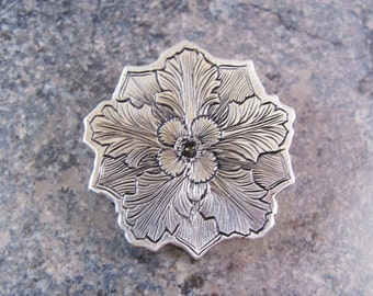 Hand Engraved Victorian Inspired Sterling Silver Flower Brooch