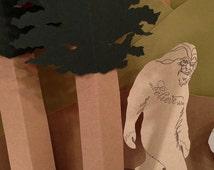 Bigfoot Sasquatch letterpress card