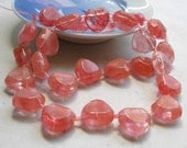 Cherry Quartz Beads- 15mm Faceted Pink Heart Beads For Beaded Jewelry Making