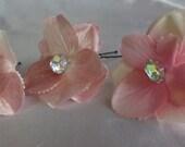 Bridal Hair Wedding Hair Pink Hydrangea Hairpins with Rhinestones (set of 3)