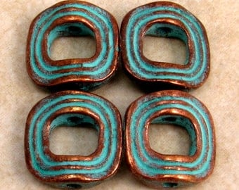 Mykonos Green Patina Metal Halo Bead,12 MM, 4 Pieces M190
