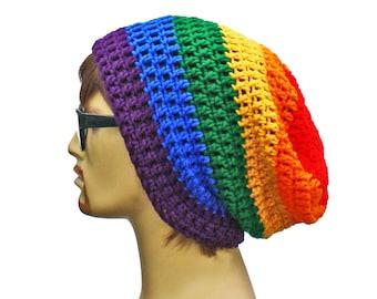 Rainbow Slouch Beanie Slouchy Rainbow Beanie Mens Women Pride