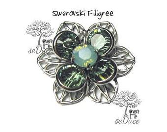 DESTASH 6 pcs Swarovski Filigree Flower Erinite/Pacific Opal  24mm Rhodium Plated