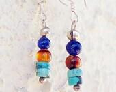 SALE, Tiny Turquoise, Carnelian, & Blue Earrings