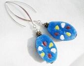 SALE, Long Blue Krobos African Powder Glass Earrings