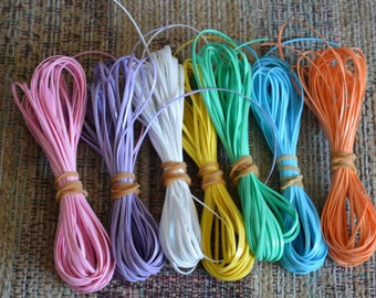 Lot of Rexlace boondoggle plastic lace gimp in PASTELS colors 70 yards total