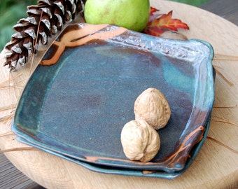 Slate Blue Lunch Plate with Rust Design- Made to Order