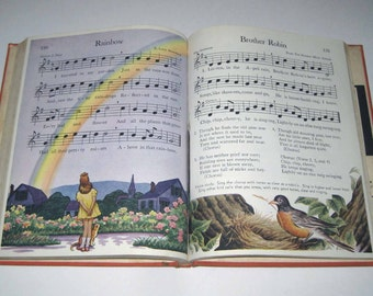 New Music Horizons Book 4 Vintage 1940s Children's School Song Book of Music by Silver Burdett Co.