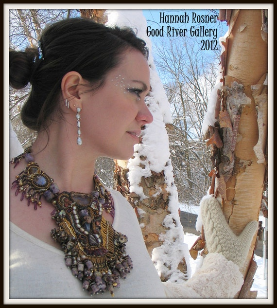 HOLD for TERRY - Steampunk Bead Embroidery Necklace - Queen Of Sheba - Beadweaving Semiprecious Glass by Hannah Rosner