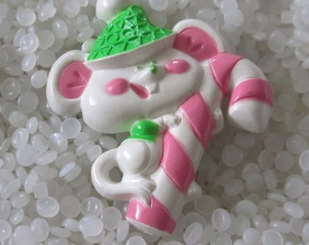 Vintage White Christmas Mouse holding candy cane Avon Pin