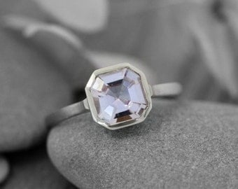 14k Palladium White gold, Morganite Gemstone Ring, Asscher Cut Morganite, Made To Order