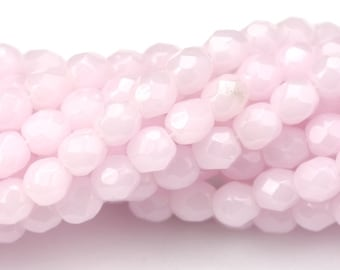Czech Glass Beads Fire Polished Faceted Rounds 4mm Soft Pink Opal (50) CZF612