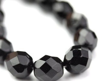 Czech Glass Beads Fire Polished Faceted Rounds 8mm Jet (25) CZF656