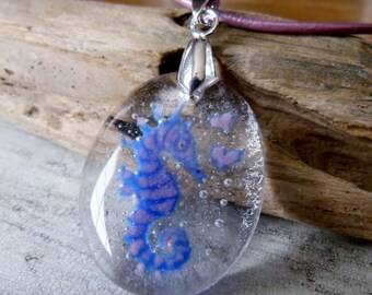 Pink and blue Seahorse necklace - fused glass pendant