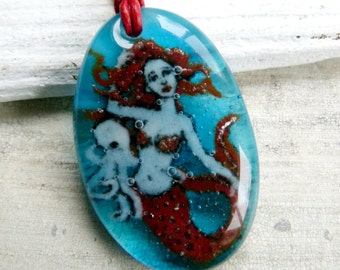 Mermaid and octopus necklace - fused glass jewelry - fused glass pendant