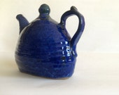 Stylish blue teapot - GoldenApplePottery