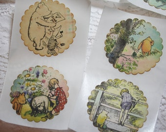 Handmade Vintage Style Classic Pooh Bear Sticker Seals - Winnie the Pooh
