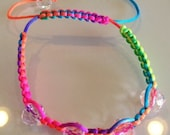 Neon Shambhala  with Clear Crystals Bracelet - Summer Fun Bracelet - Satin nylon knot