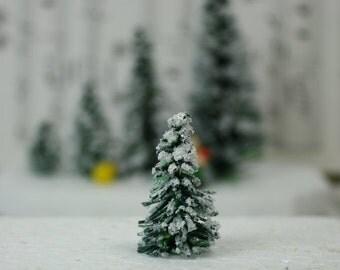 "Snowy Evergreen Tree - 1"" - Set of 5 - 218-0401"